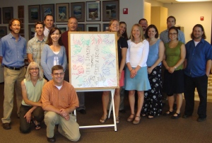 The 2012 class of Water Leaders poses during their first 'day of school' in early Fall 2011.