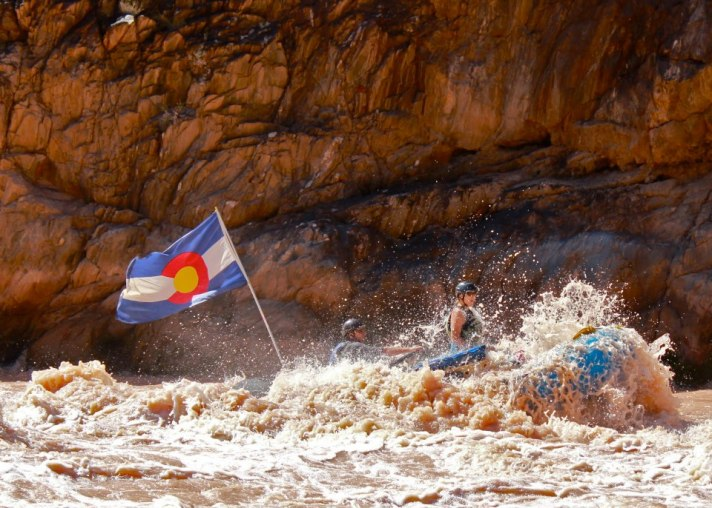 CFWE Executive Director Nicole Seltzer, braving Grand Canyon whitewater in 2012