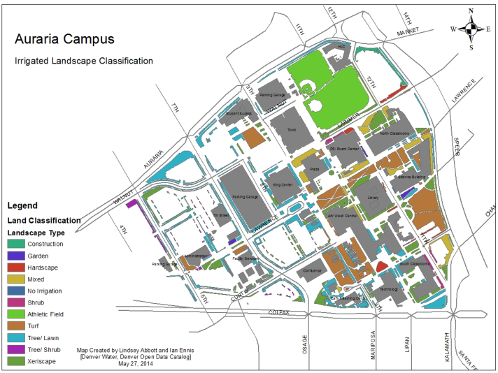 This map, created for the MSU Denver class' final report,.hows the landscape type of all irrigated land on Auraria Campus.