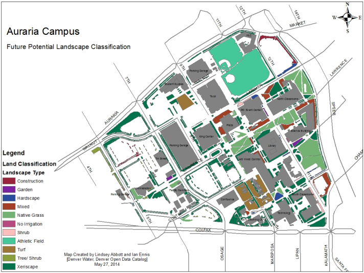 This Future Potential Landscape Classification map was created to recommend areas where implementing a more sustainable landscape could benefit the Auraria Campus.