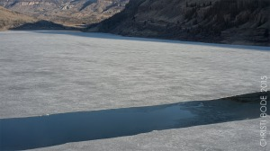 Rio Grande Reservoir thawing in April, 2015.