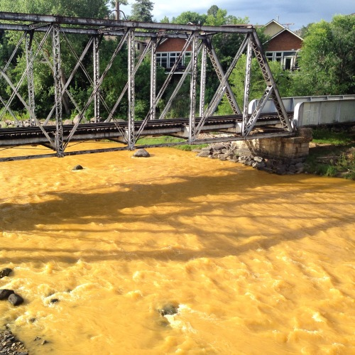 The Animas flows orange through Durango on Aug. 7, 2015, two days after the Gold King Mine spill. (Photo by Esmé Cadiente | www.terraprojectdiaries.com)